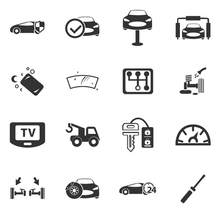 cash dispense: Car shop icon set for web sites and user interface