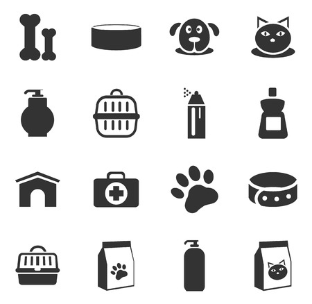 food icon: Goods for pets icon set for web sites and user interface