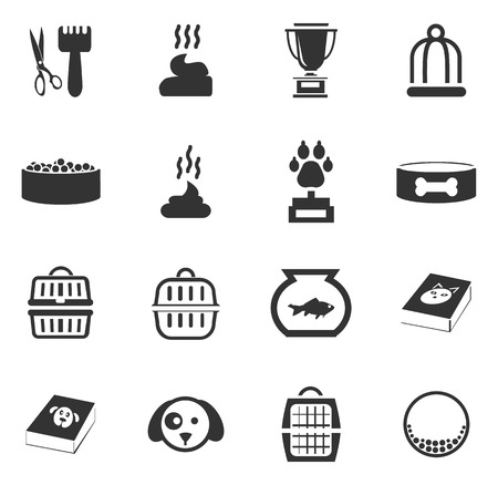 service: Goods for pets icon set for web sites and user interface