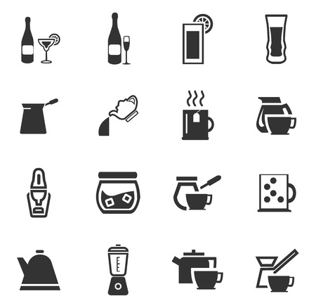 preparation: Utensils for the preparation of beverages icon set for web sites and user interface