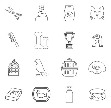 shop for animals: Goods for pets icon set for web sites and user interface