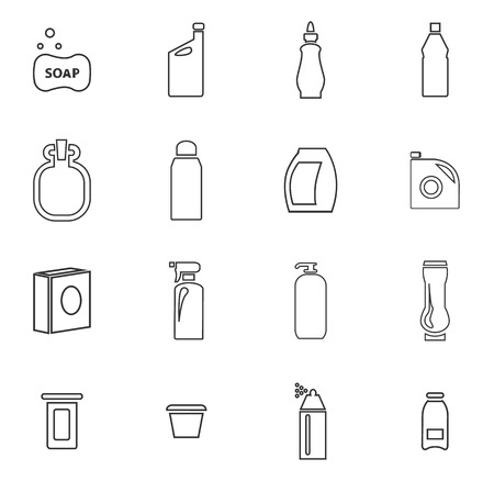 cleanliness: Household chemicals icon set for web sites and user interface Illustration