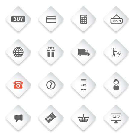 shopping questions: E-commerce simply symbol for web icons and user interface Illustration