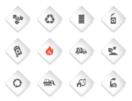 environmental damage: Recycle simply symbols for web and user interface Illustration
