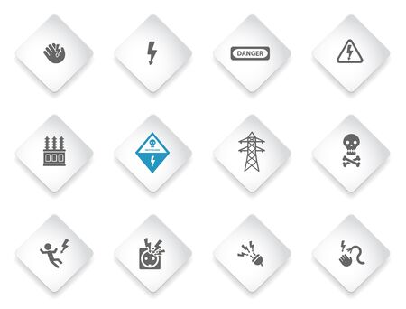 electrocution: Electricity sign set vector isolated on white