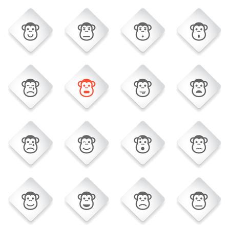 desconfianza: emociones mono simplemente s�mbolo de iconos de la web y la interfaz de usuario