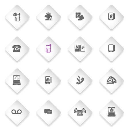 mobile voip: Telephone  simply symbols for web and user interface Illustration