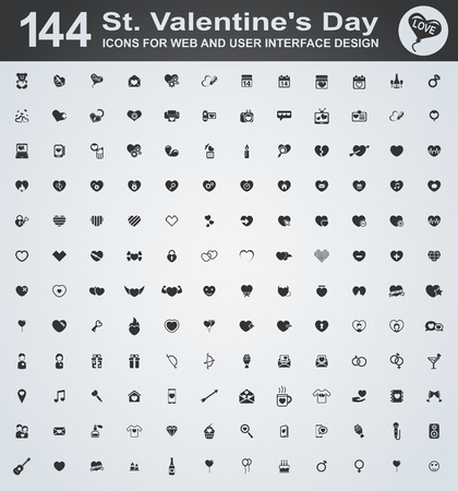 carta de amor: Fije los iconos del d�a de san para la web y la interfaz de usuario Vectores