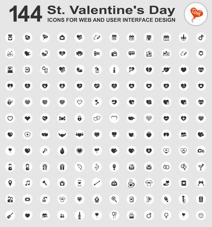 carta de amor: Fije los iconos del día de san para la web y la interfaz de usuario Vectores