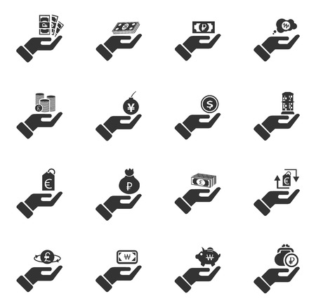 bomb price: Hand and money icon set for web sites and user interface Illustration