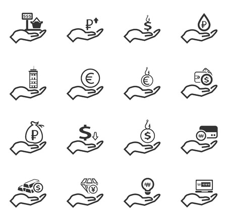 thin bulb: Hand and money icon set for web sites and user interface Illustration