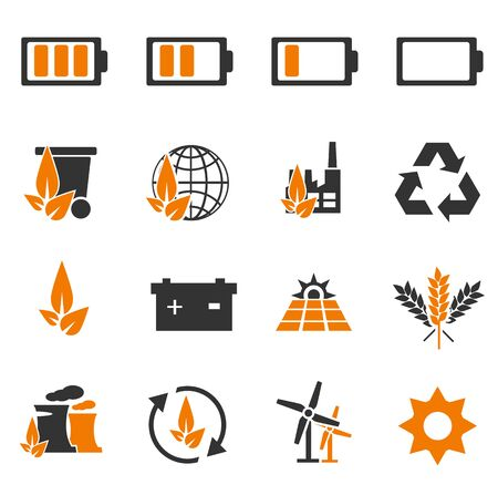 car leaf: Alternative energy simply icons for web and user interfaces