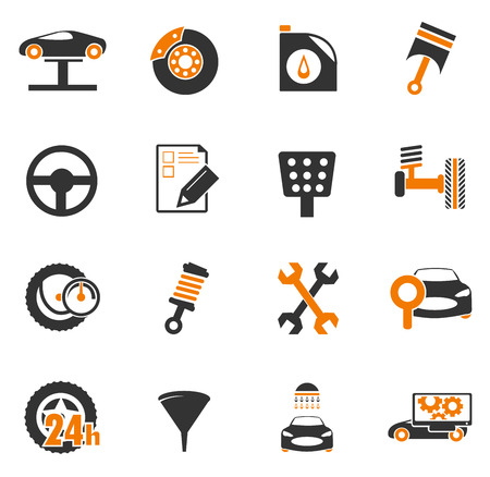 vehicle breakdown: Car service simply icons for web and user interfaces Illustration