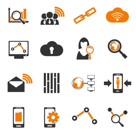 compute: Data analytic and social network simply icons for web and user interfaces