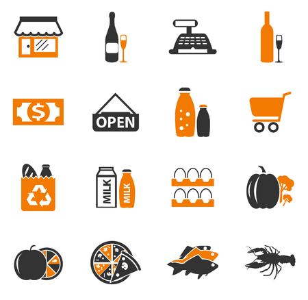 Sklep spożywczy prostu ikony dla stron internetowych i interfejsów użytkownika Ilustracje wektorowe