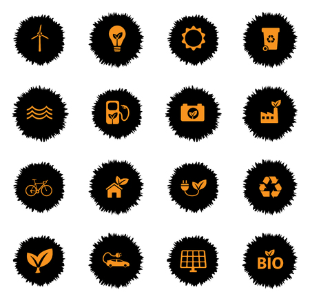 car leaf: Alternative energy vector icons for web sites and user interface Illustration