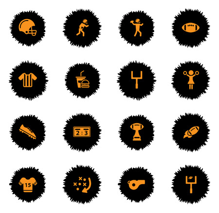 pelota rugby: American football vector icons for web sites and user interface Vectores