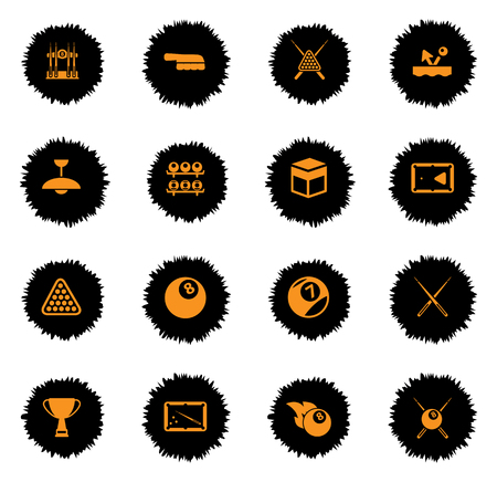 pool cues: Billiards vector icons for web sites and user interface Illustration