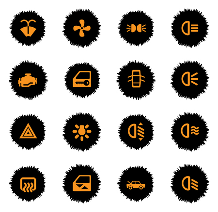 emergency engine: car interface color icon for web sites and user interface Illustration