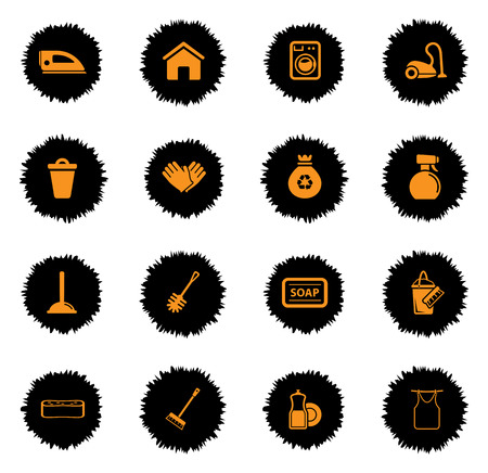 dusting: Cleaning  services vector icons for web sites and user interface Illustration