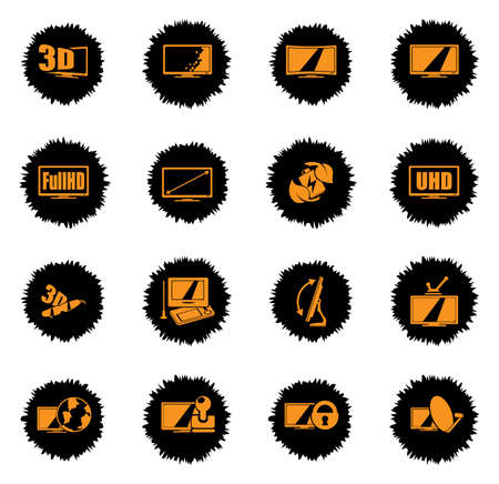 Vector TV features and specifications  vector icons for web sites and user interface Ilustrace