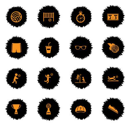 iconos de voleibol vectoriales para páginas web y la interfaz de usuario