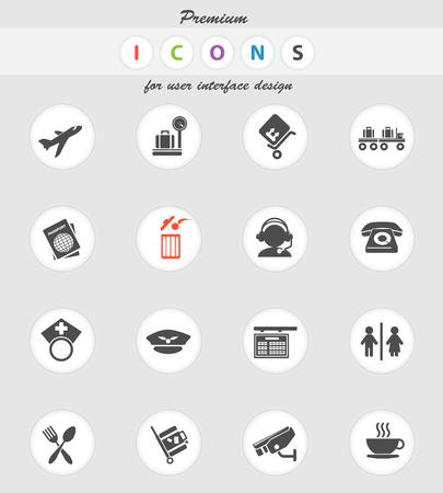 figura humana: icono de aeropuerto para los sitios web y la interfaz de usuario Vectores