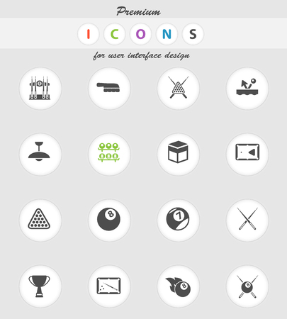 bounce: Billiards vector icons for web sites and user interface Illustration