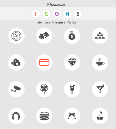 roulette player: Casino  vector icons for web sites and user interface