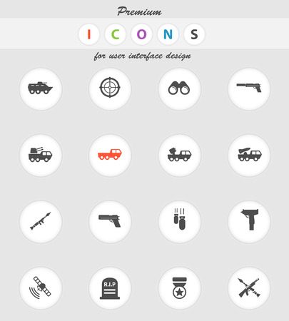 gunfire: Military  vector icons for web sites and user interface Illustration