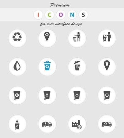wheelie bin: Garbage icons set for web sites and user interface Illustration