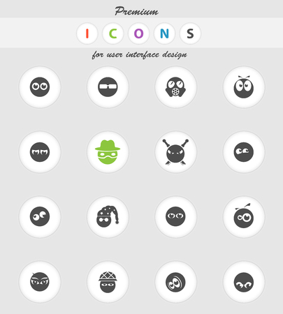 Emotions and glances icons set for web sites and user interface Illustration