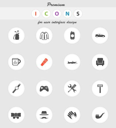 smocking: Fathers day  vector icons for web sites and user interface