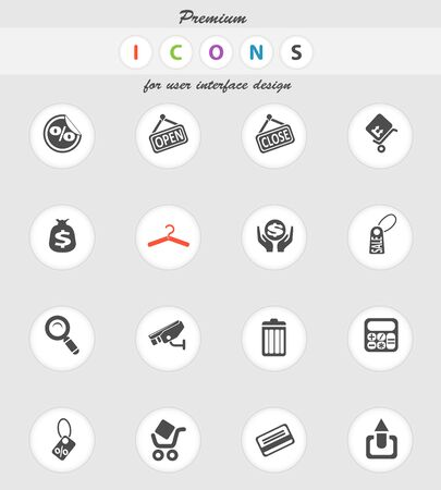 rubbish cart: Shopping vector icons for web sites and user interface