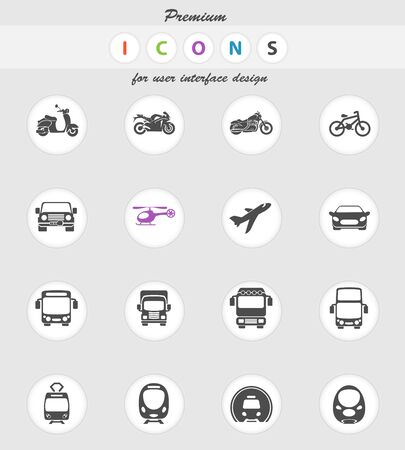 airplane mode: Vector illustration of simple monochromatic vehicle and transport related icons for your design or application.