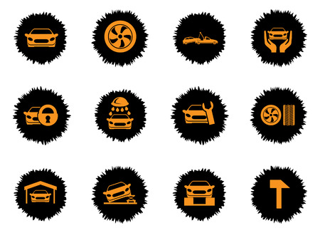 wheel guard: car service color icon for web sites and user interface