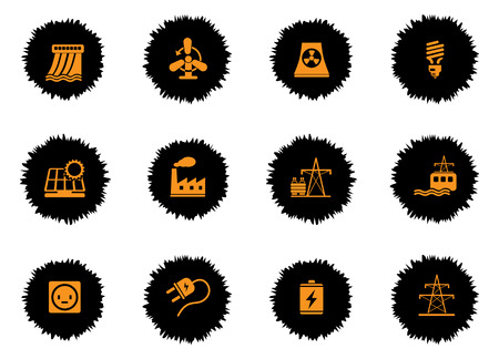 electricity substation: Energy icons set for web sites and user interface
