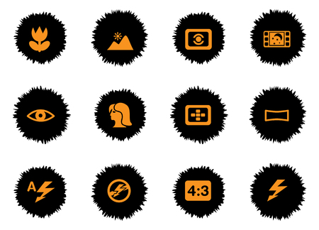 back lit: Photo modes icons set for web sites and user interface