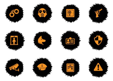 gas mask warning sign: Security icons set for web sites and user interface