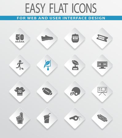 american football helmet set: American Football easy flat web icons for user interface design