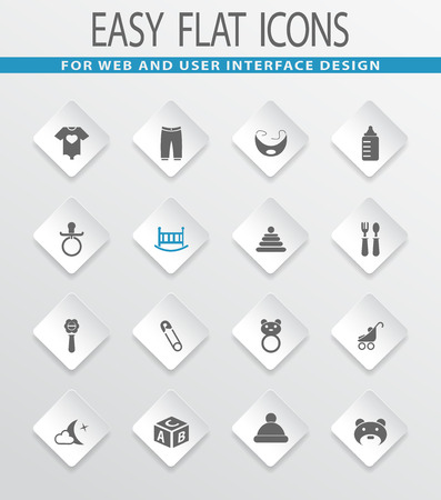 nipples: Baby easy flat web icons for user interface design Illustration