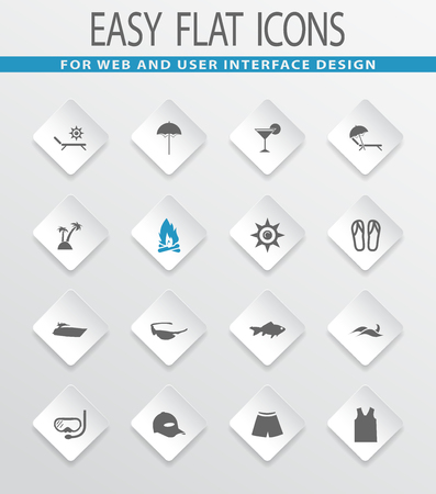 sunglasses recreation: Beach easy flat web icons for user interface design