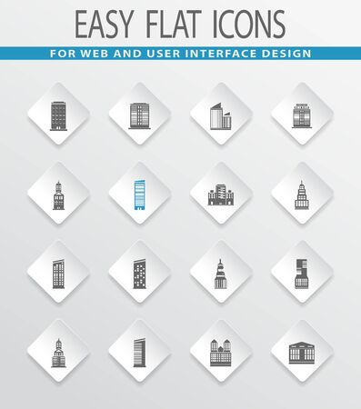 metropolis: Buildings easy flat web icons for user interface design Illustration