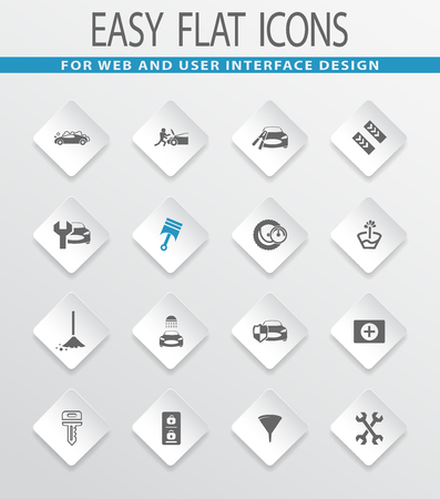 first aid kit key: Car shop easy flat web icons for user interface design