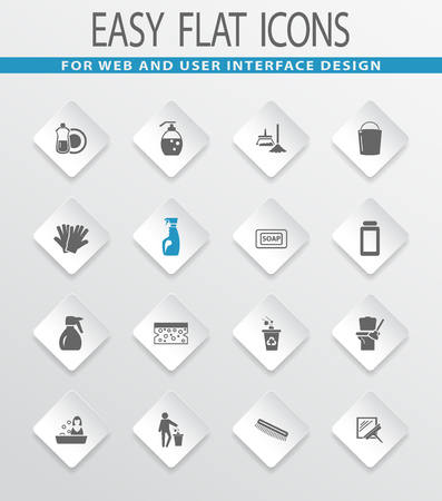 Cleaning company easy flat web icons for user interface design