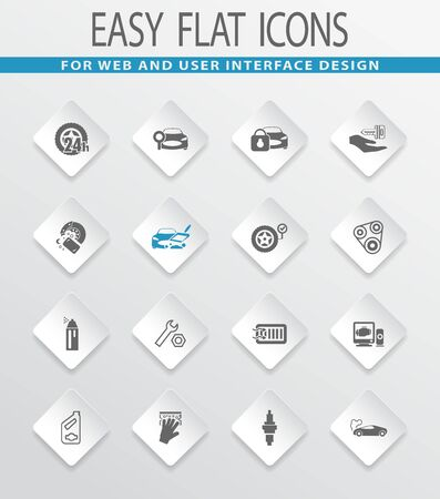 cash dispense: Car shop easy flat web icons for user interface design