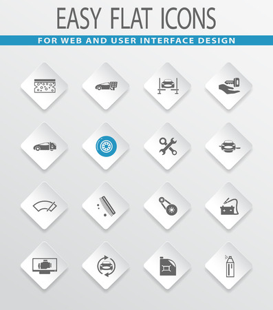 Car shop easy flat web icons for user interface design