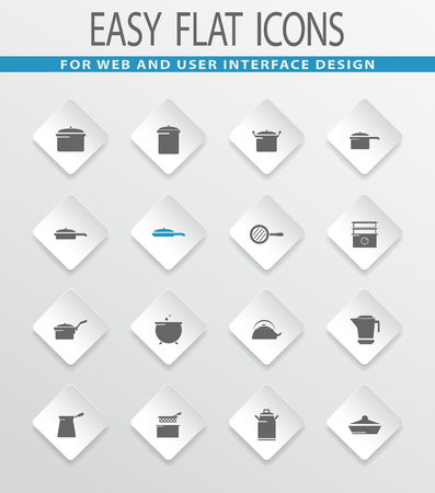 Dishes easy flat web icons for user interface design Illustration