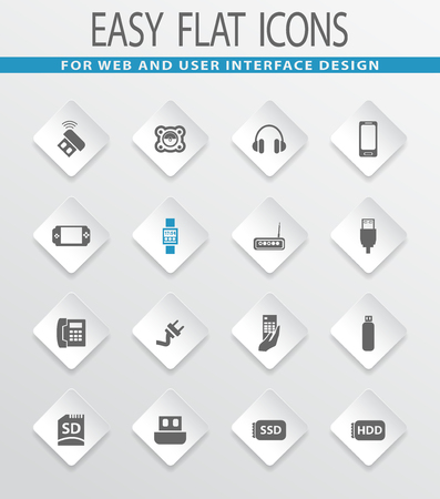 psp: Devices easy flat web icons for user interface design Illustration