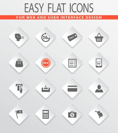E-commerce easy flat web icons for user interface design